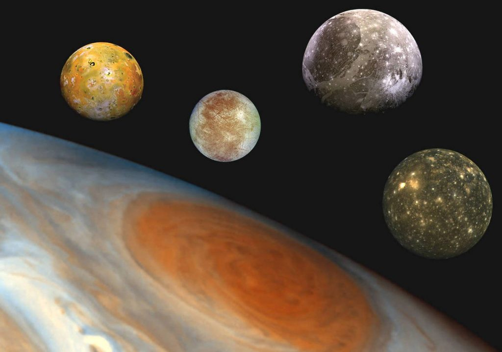 Jupiter and FOUR of its moons will shine in the night sky